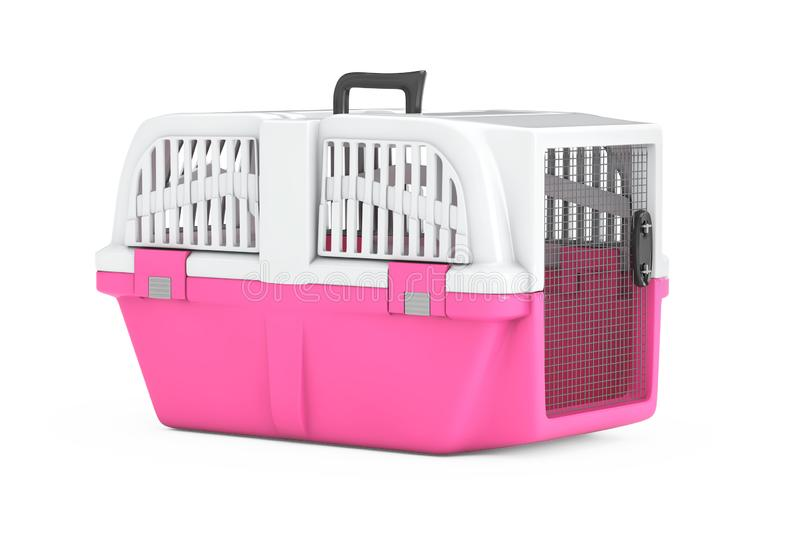Pink Pet Travel Plastic Cage Carrier Box. 3d Rendering. Pink Pet Travel Plastic Cage Carrier Box on a white background. 3d Rendering stock illustration