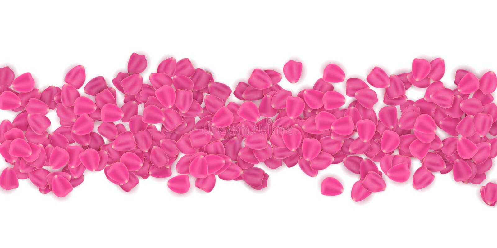 Pink petals isolated on white background. March 8. Valentine`s Day. Romantic frame template for your design. Vector illustration. EPS 10 royalty free illustration