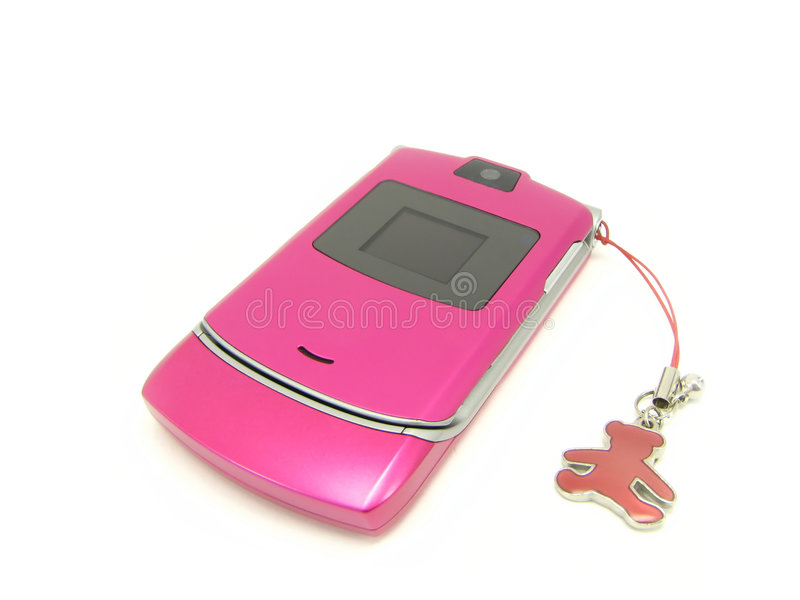 Pink phone with a bear. Pink phone with a charm, separately, on a white background royalty free stock image