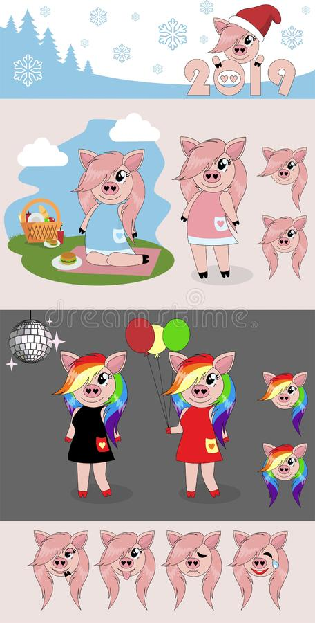 Pink_Pig ilustração stock