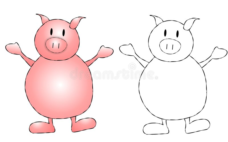Pink Pig Clip Art. An illustration featuring your choice of simple pig clip art - in color and plain black and white for projects where colour is not an option stock illustration