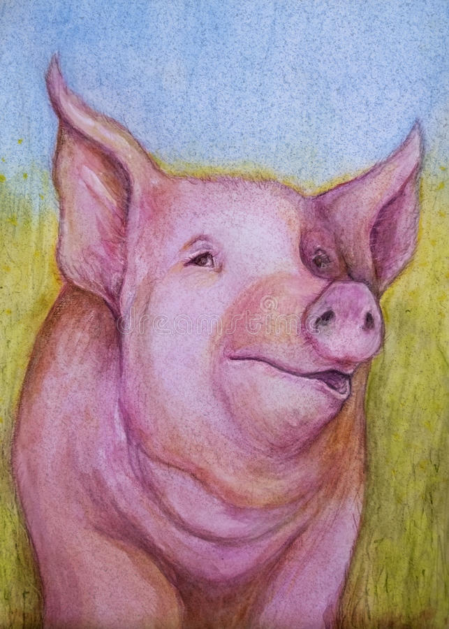 Pink pig color sketch. A watercolor and pencil sketch of a large pink pig in a grassy field. The pig appears to be talking