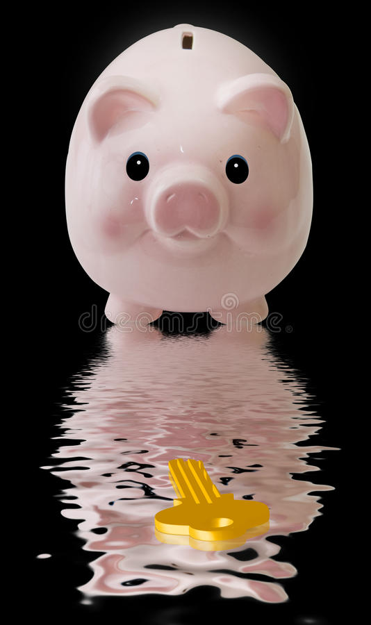Pink Pig with Key stock photos