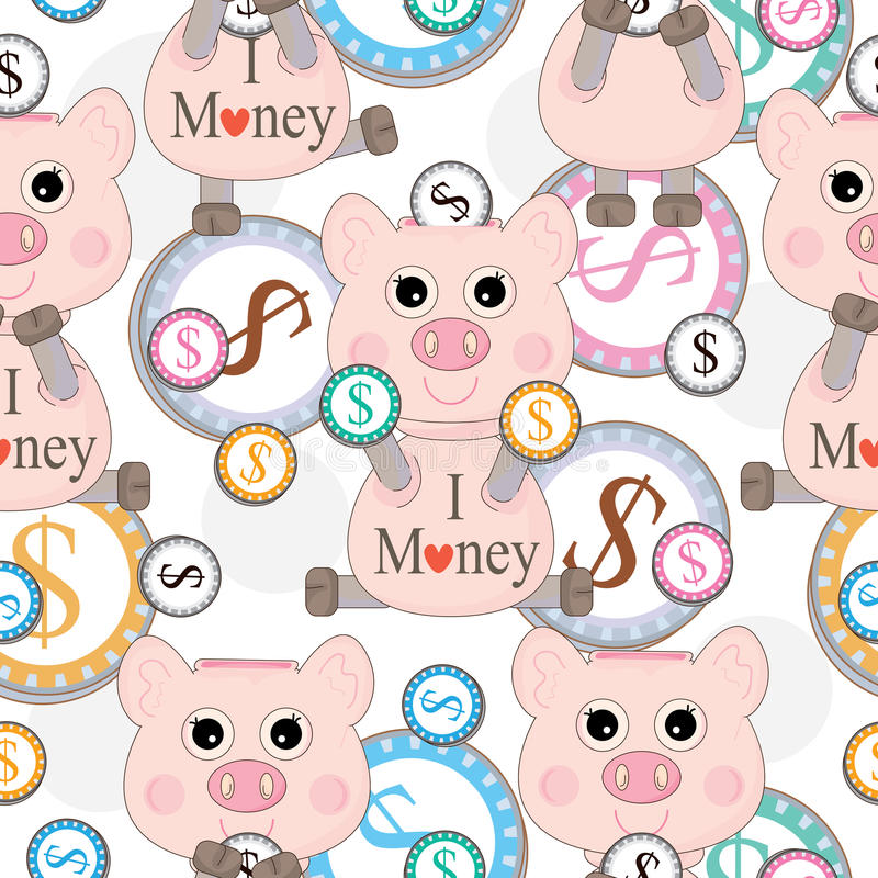 Pink Pig Love Money Seamless Pattern_eps royalty free illustration