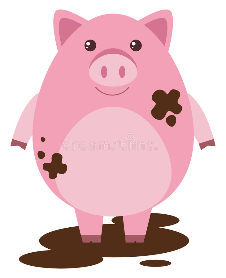 Pink pig in muddy puddle royalty free illustration