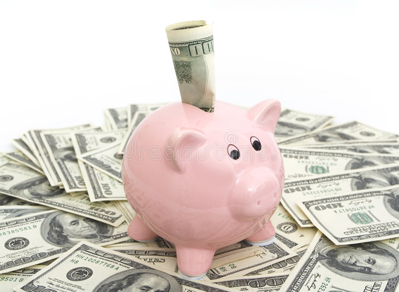 Pink piggy bank royalty free stock photography