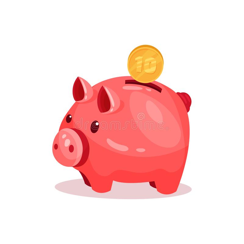 Pink piggy bank with 10 cent. Small ceramic money box for coins. Flat vector element for advertising poster or banner. Pink piggy bank with 10 cent. Small royalty free illustration