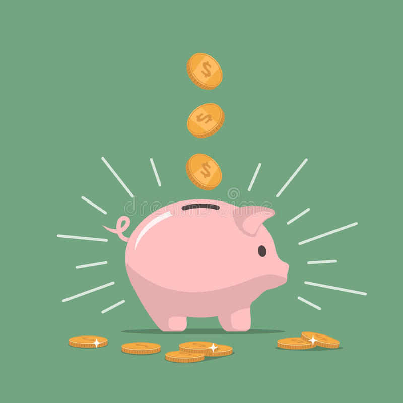 Pink piggy bank with falling coins. Saving money. Investments in future. stock illustration