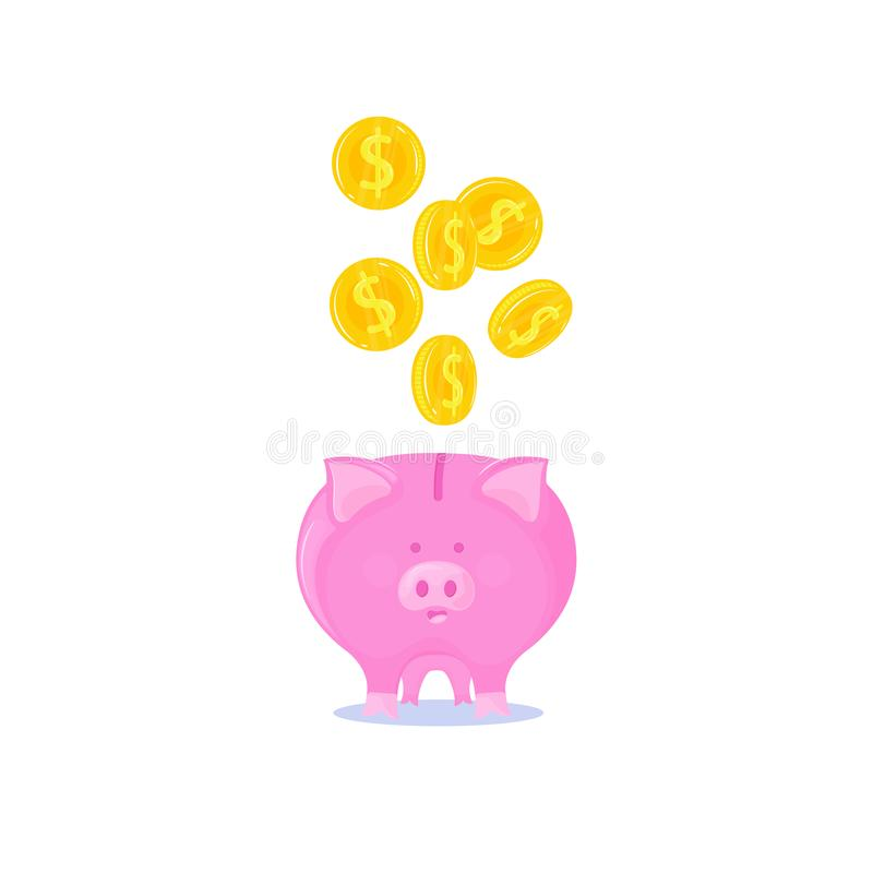 Pink piggy bank with falling gold coins. vector illustration