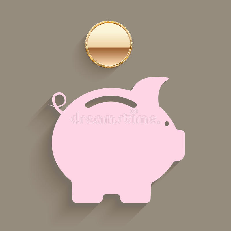 Pink piggy bank with a gold coin. Suspended above the slot in a savings and investment planning concept vector illustration stock illustration