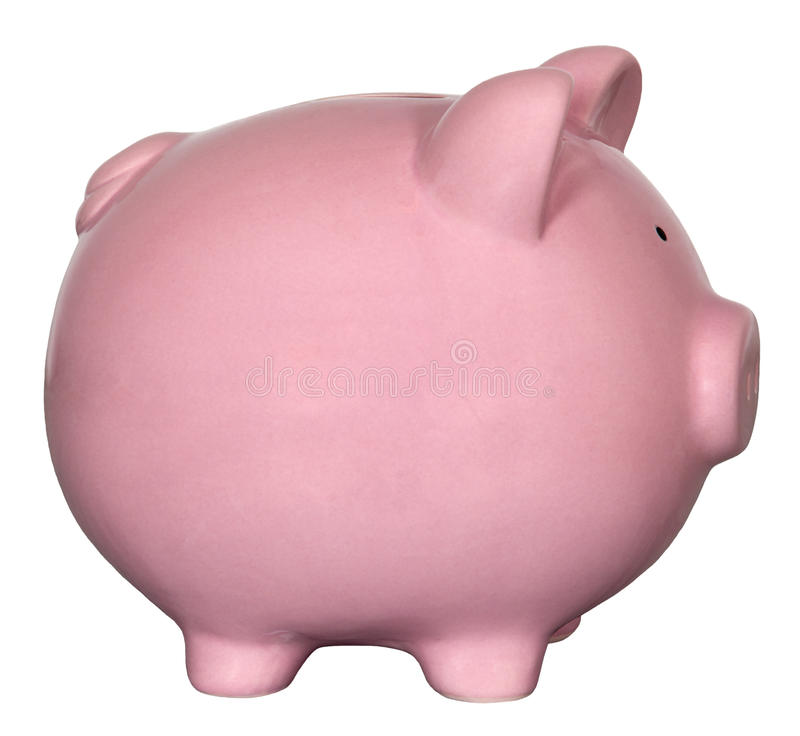 Pink Piggy Bank Isolated stock images