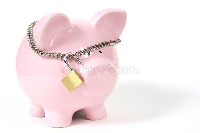 Pink Piggy Bank with Lock on white background stock photos