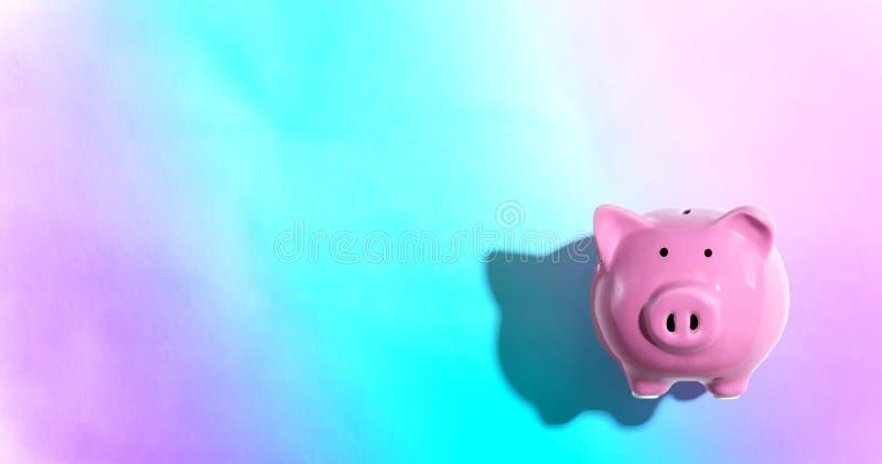 Pink piggy bank. Overhead view flat lay stock photos