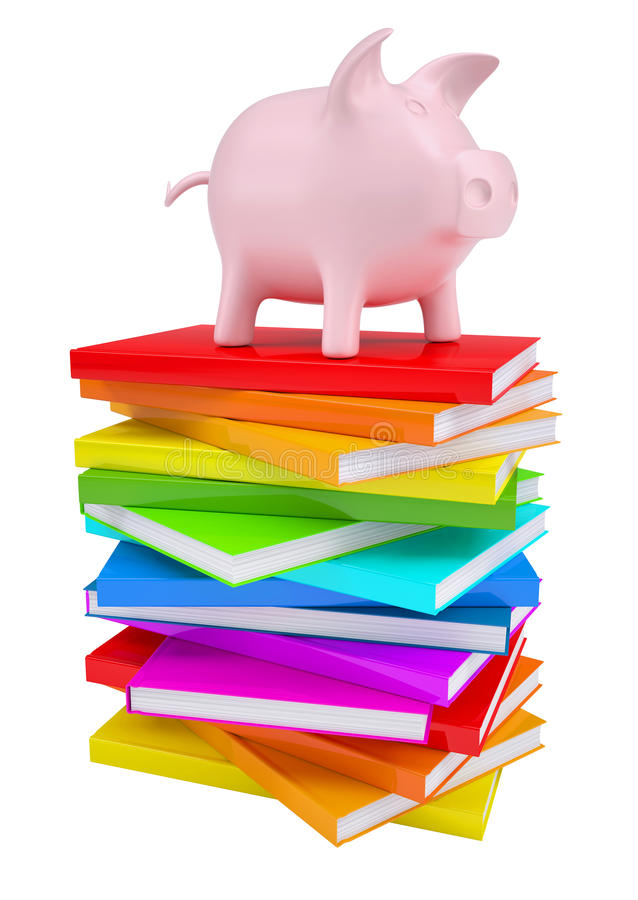 Pink piggy bank on a stack of colorful books royalty free illustration