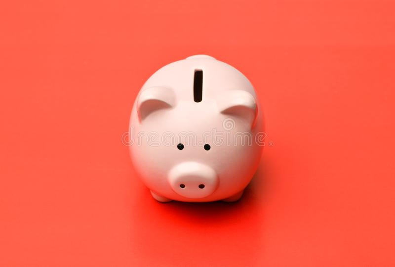 Pink piggy Bank stands in the center on a red background with a stock photography