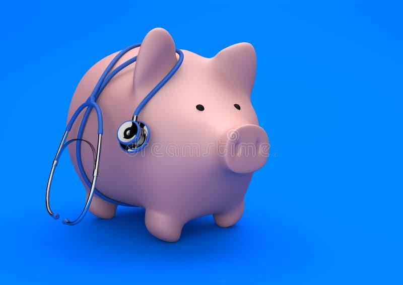 Pink Piggy Bank Stethoscope Blue Background. Piggy bank with stethoscope on the blue background royalty free illustration