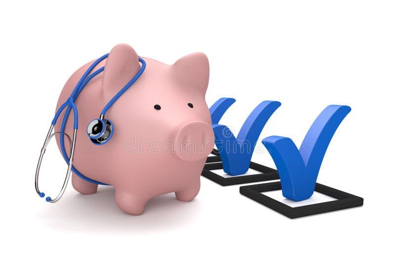 Pink Piggy Bank Stethoscope Checklist. Pink piggy bank with blue stethoscope and checklist on the white stock illustration