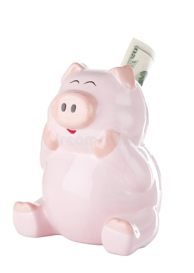 Download Pink Piggy Bank With Twenty Dollar Bill Stock Photo - Image: 10652798