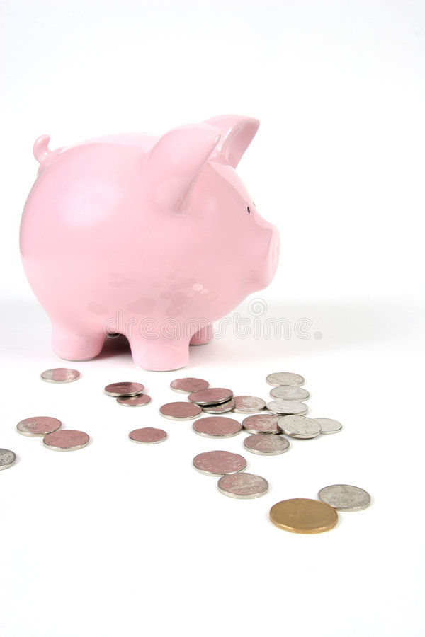Pink Piggy Bank on white with royalty free stock photography