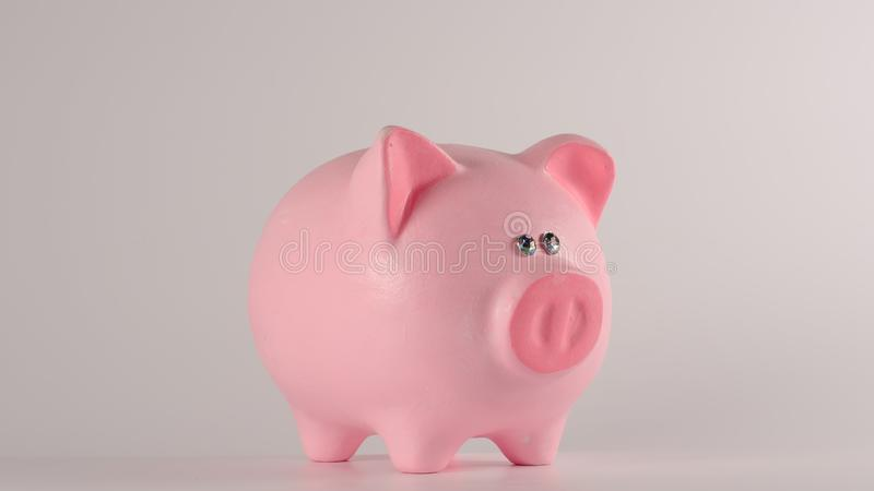 Pink piggy moneybox on a white background stock image