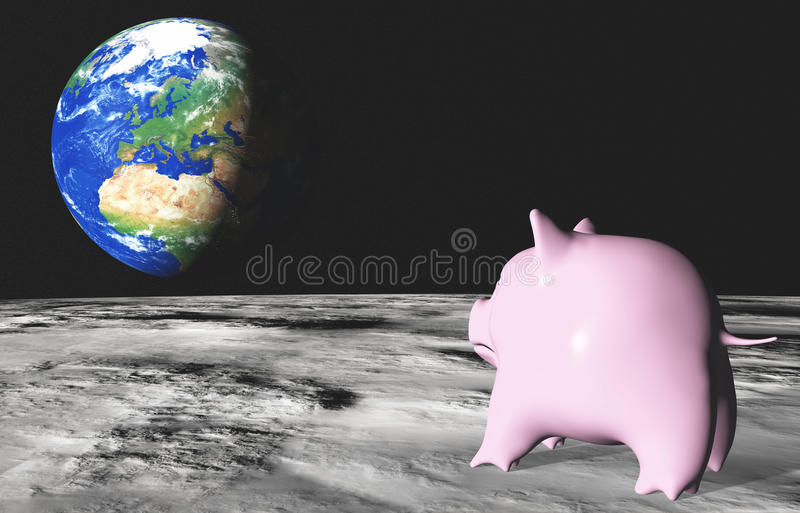 Pink piggy on the moon royalty free illustration