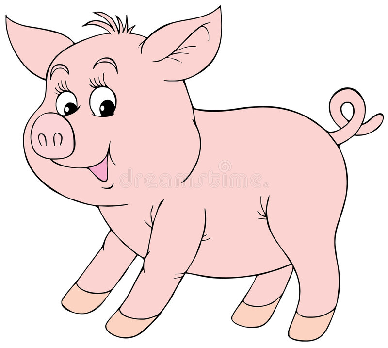 Download Pink piglet stock vector. Image of artistic, contour, comics - 4474957