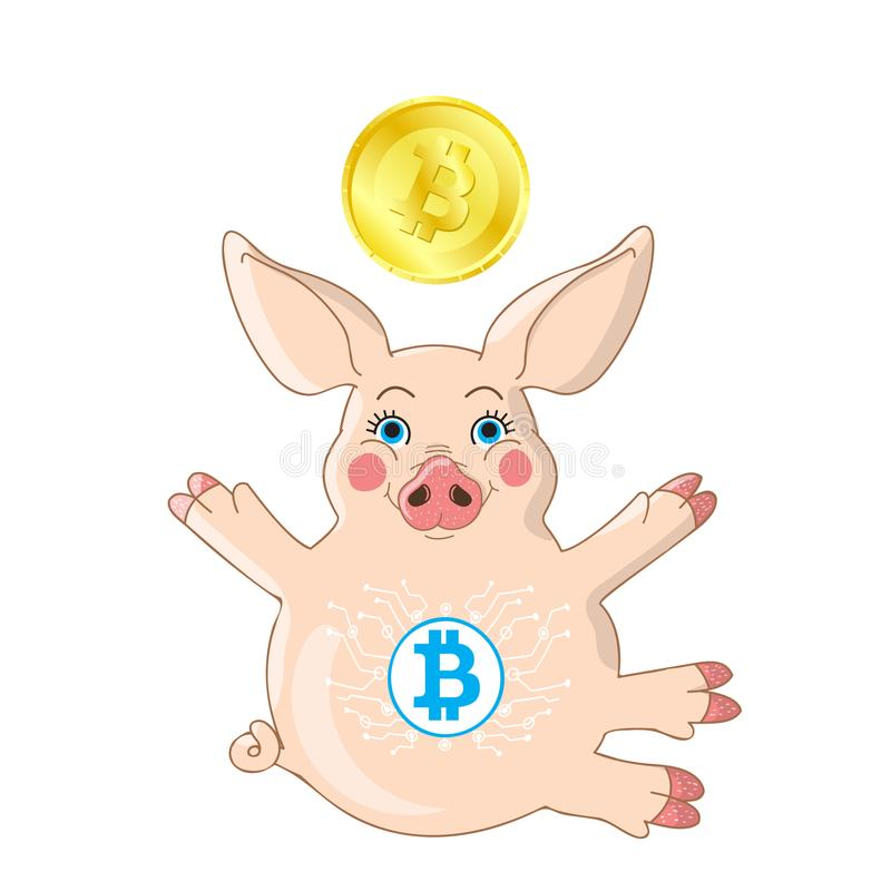 Pink piglet with hug gesture isolated on white with golden cryptocurrency coin vector illustration