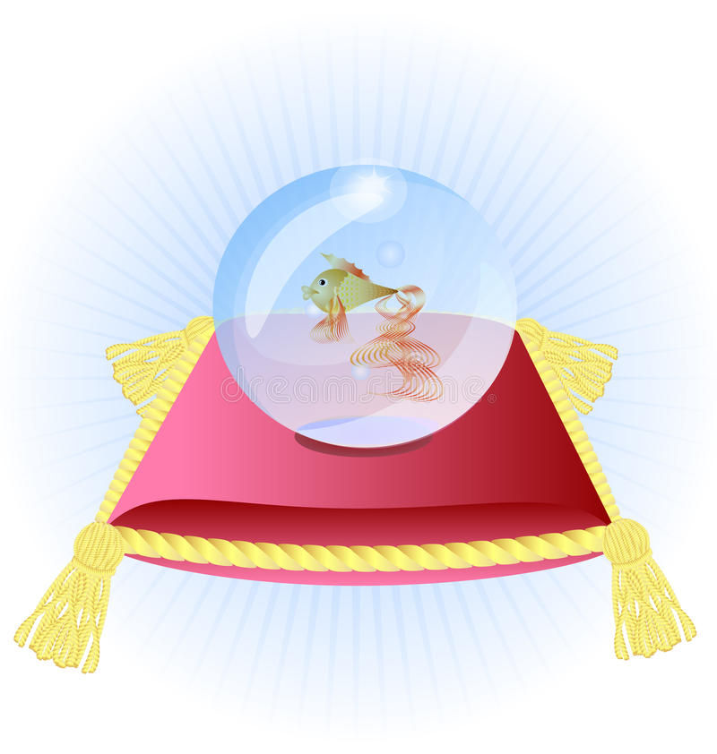 Pink pillow and a goldfish in a blue glass bowl. Against abstract background a large pink pillow with a goldfish in a blue glass bowl stock illustration