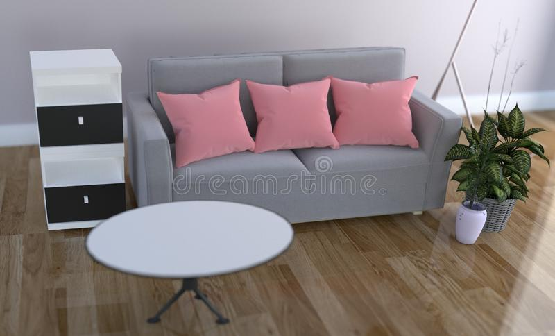 Pink pillow on sofa - Living Room interior. 3D rendering. Mock up Pink pillow on sofa - Living Room interior. 3D rendering vector illustration