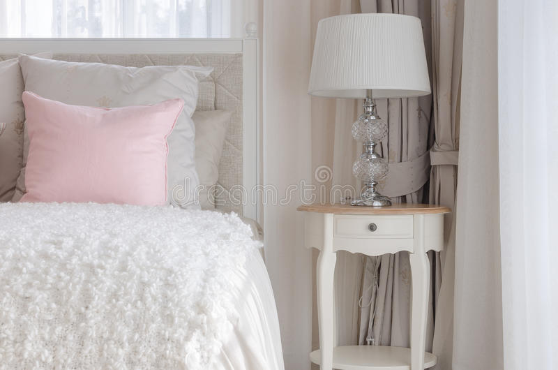 Pink Pillow On White Luxury Bed In Bedroom