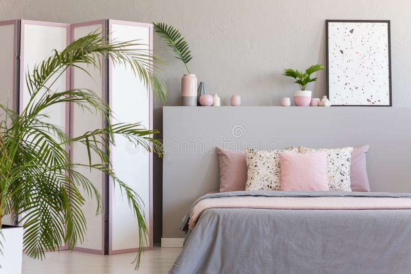 Pink pillows on grey bed in pastel bedroom interior with palm and poster on bedhead. Real photo. Concept stock images