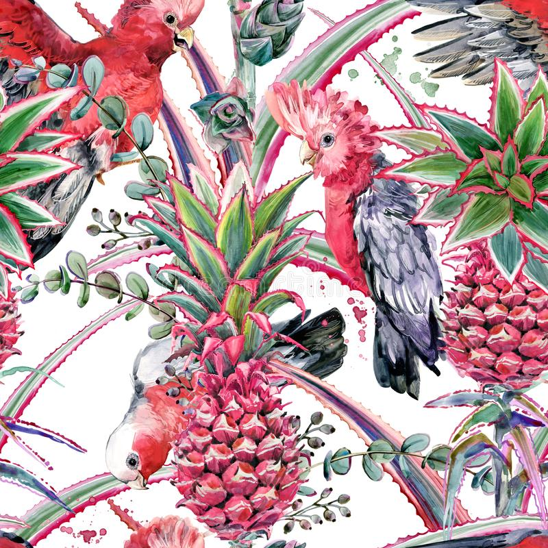 Pink pineapple, parrot hand drawn watercolor seamless pattern stock illustration