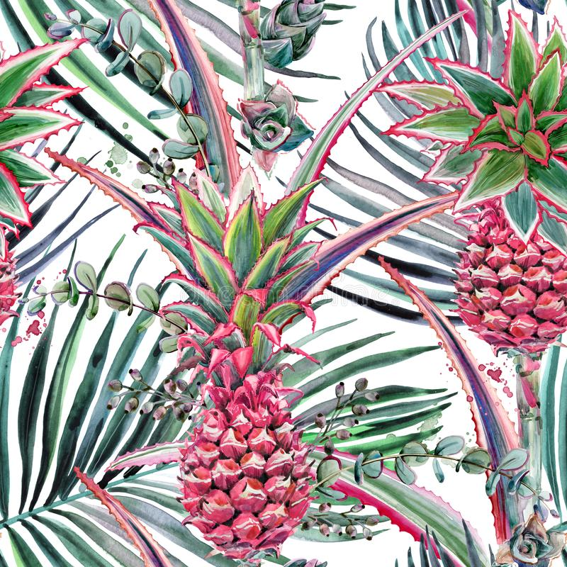 Pink pineapple, tropical plant watercolor seamless pattern. Pink pineapple, tropical plant hand drawn watercolor seamless pattern stock illustration