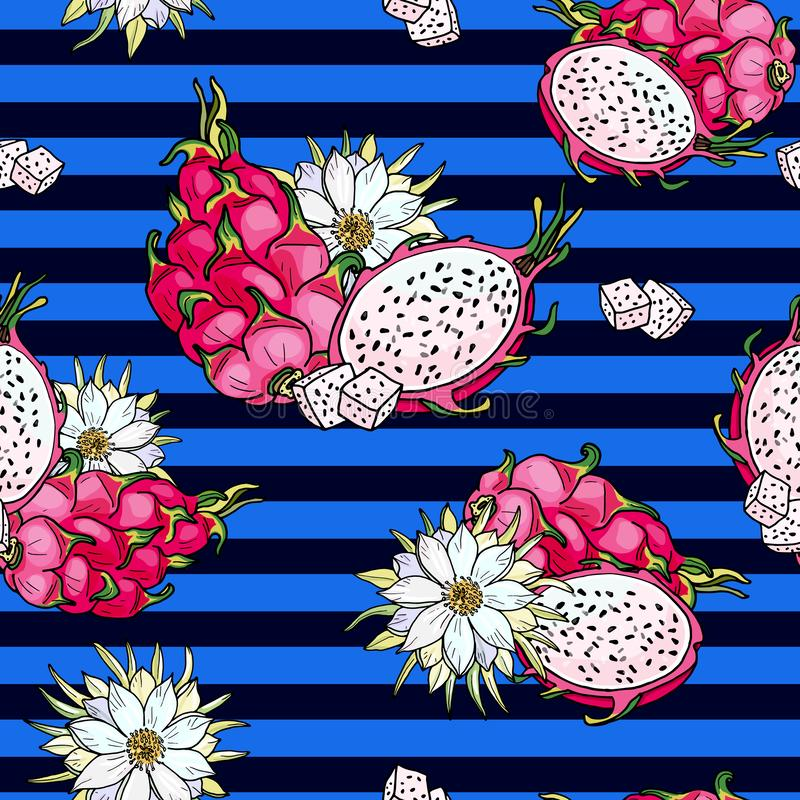 Pink pitaya. Blue Seamless pattern. Summer tropical food for healthy lifestyle.Red dragon whole fruit and half, flower. Pink pitaya.Blue Seamless pattern.Summer royalty free illustration