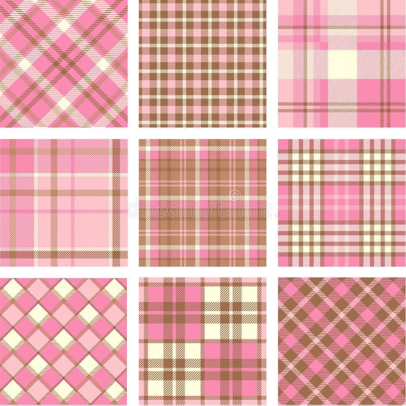 Download Pink plaid patterns set stock illustration. Illustration of line - 25745487