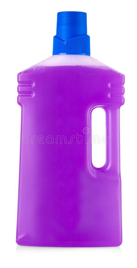 Pink plastic bottle with handle and liquid laundry detergent. Cleaning agent, bleach or fabric softener isolated on white background royalty free stock image