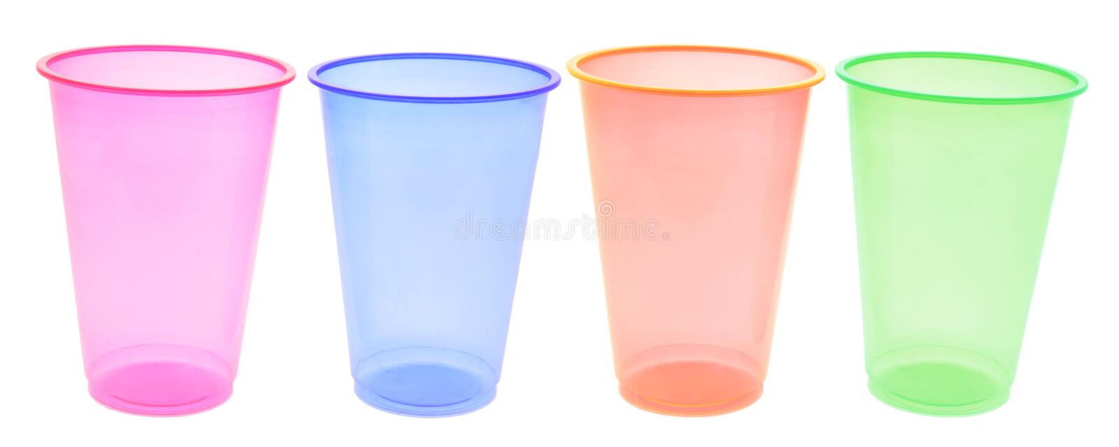 Pink Plastic Cups stock photo