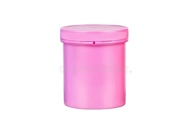 Pink plastic jar royalty free stock images
