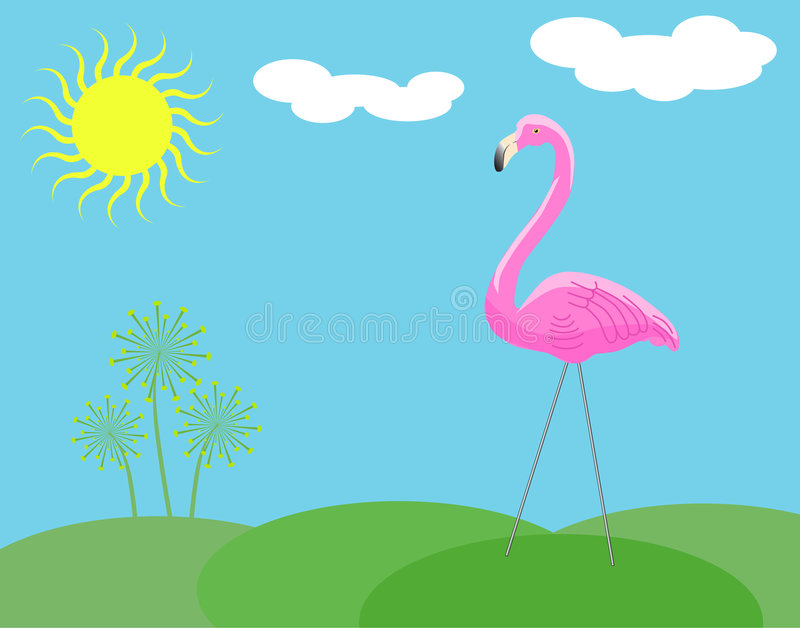Pink Plastic Lawn Flamingo. Has wire legs and stands on little hills with stylish weeds. Blue sky, blazing sun, and little clouds vector illustration