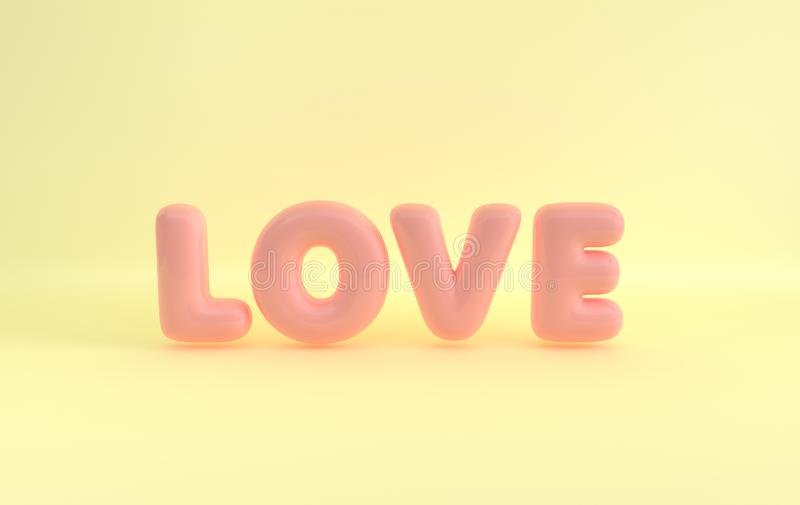 Pink plastic letters LOVE with glossy reflections on yellow background. Pastel colored 3d rendering. Saint Valentine`s day card vector illustration