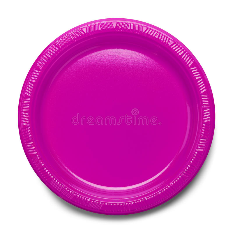 Pink Plastic Plate. Empty Plate Top View Isolated on White Background stock photo