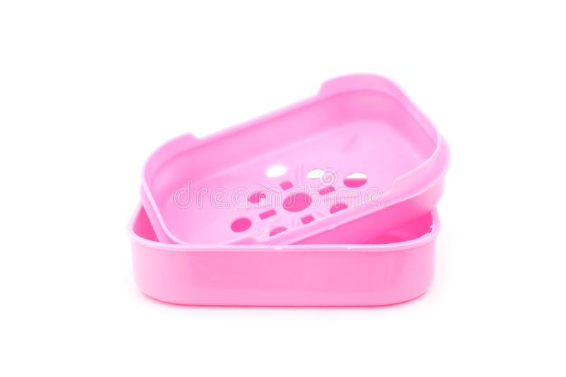 Pink plastic soap box royalty free stock photo