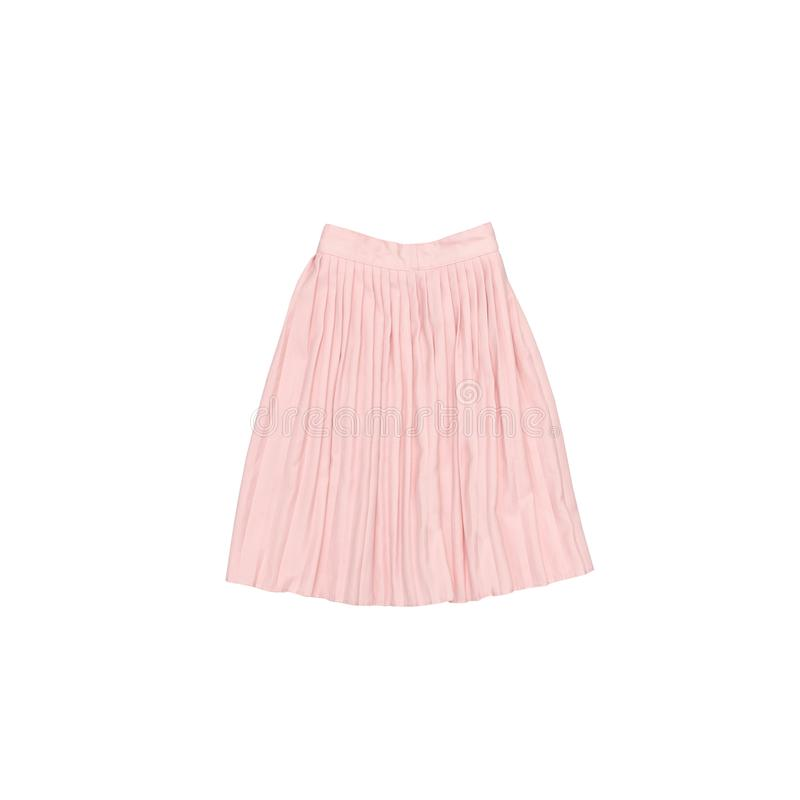 Pink pleated skirt. Fashionable concept. Isolated. White backgr. Ound royalty free stock images