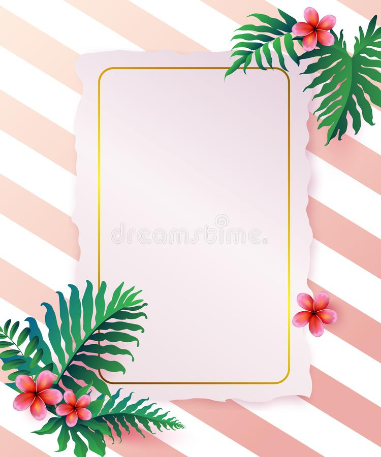 Pink Plumaria flower with copy space, Summertime. Happy holidays vector illustration