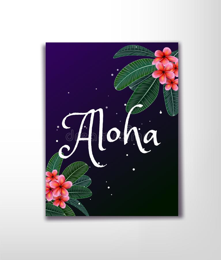 Pink Plumaria flower with copy space, Summertime. Happy holidays royalty free illustration
