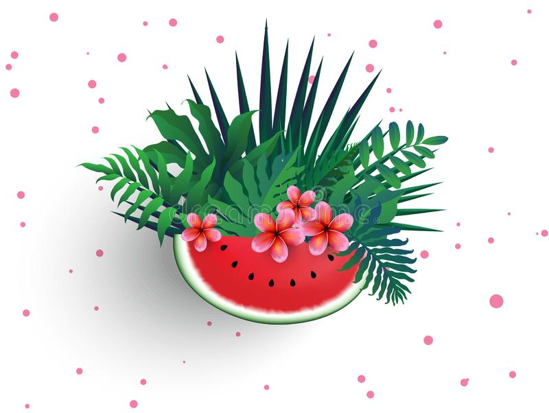 Pink Plumaria flower with sliced watermelon and tropical leaves vector illustration