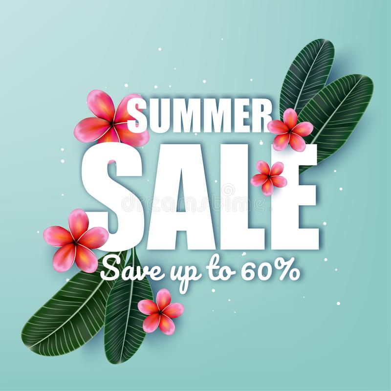 Pink Plumaria flower with Summer sale advertisement, Summertime. vector illustration