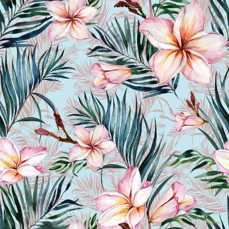 Pink plumeria flowers and exotic palm leaves in seamless tropical pattern. Blue background. Watercolor painting. Hand drawn and painted floral illustration stock illustration