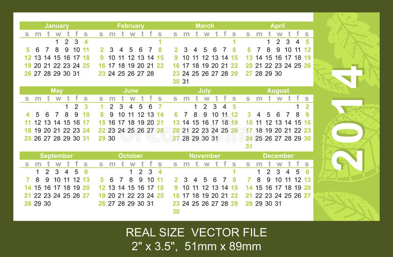 Pink pocket calendar 2014, start on Sunday. Pocket Calendar 2014, vector, start on Sunday SIZE: 2 x 3.5, 51mm x 89mm type Ariel stock illustration