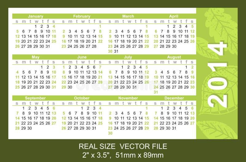 Pink Pocket Calendar 2014, Start On Sunday Stock Photo
